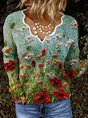 New Women Fashion Plus Size Casual Floral Vintage Long Sleeve V Neck Shirts Tops