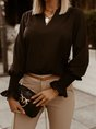 Solid Casual Long Sleeve Top