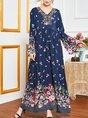 V Neck  Shift Holiday Floral  Maxi Dress