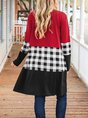 Long Sleeve Checkered/plaid Paneled Outerwear