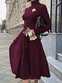 Turtleneck Elegant A-Line Solid Midi Dress
