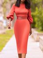 Work Solid Formal Midi Dress
