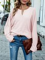 Casual Long Sleeve Solid Top