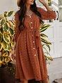Jacquard Long Sleeve V Neck Midi Dress