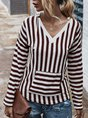 Stripes Long Sleeve Vintage Hoodie Top