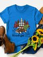 It's The Most Wonderful Time Of The Year Leopard Plaid Christmas Tree Car Graphic Tee
