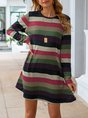 Stripes Casual Crew Neck Long Sleeve Mini Dress