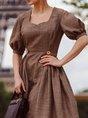 Short Sleeve Cotton-Blend A-Line Dress