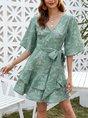 V Neck Sweet Mini Dress