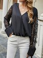Casual V Neck Guipure Lace Long Sleeve Top