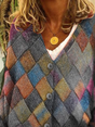 Plus size Geometric Long Sleeve Outerwear