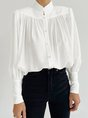 Long Sleeve Solid Stand Collar Top