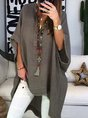 Stand Collar Half Sleeve Plain Boho Blouse
