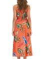 Floral-Print Sleeveless Halter Swing Dress