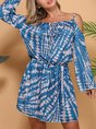 Casual Off Shoulder Bell Sleeve Dress