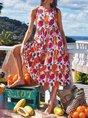 Floral Holiday Crew Neck Sleeveless Romantic Dress