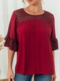 Half Sleeve Solid Holiday Guipure Lace Top