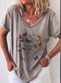 Butterfly Short Sleeve Printed Casual Top