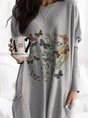 Butterfly Long Sleeve Casual Shift Top