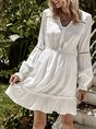 V Neck A-Line Long Sleeve Dress