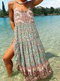 Floral V Neck Spaghetti-Strap Boho Dress