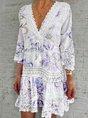 V Neck A-Line 3/4 Sleeve Floral Dress