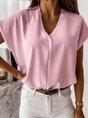 Simple & Basic Short Sleeve V Neck Top