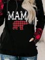 Mama Bear Women's Hoodies Plaid Animal Print Hoodie