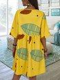 Casual Leaf Printed 3/4 Sleeve Crew Neck Dress