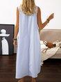 Summer Maxi Pockets Women Plus Size Solid Sleeveless Crew Neck Dress