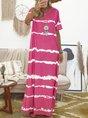 Women Dress Tie-Dye Print V-Neck Shift Casual Dress