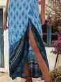 V Neck Blue  High Low Boho Maxi Dress