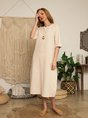 Crew Neck 3/4 Sleeve  Casual Midi Dress