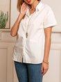 Women Short Sleeves Casual Linen Shirt