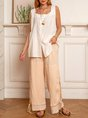 Summer Buttoned Pleated Square Neck Sleeveless Top