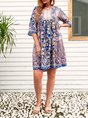V Neck Daily Cotton-Blend Floral Midi Dress