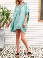 V Neck Beach Cotton Solid Mini Dress