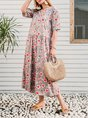 Vintage Plus Size Women Short Sleeve V Neck Floral Printed Casual Dresses