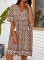 Orange Vintage Short Sleeve Dress