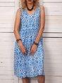 Women Floral Pockets Shift  Casual Summer Dress