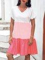 Neck Short Sleeve Cotton-Blend Dress