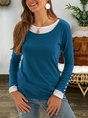 2 in 1 Buttoned Crew Neck Shirts Plus Size Top