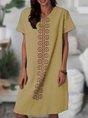 V Neck Daytime Cotton-Blend Dress