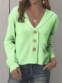 Beige Cotton-Blend Casual Sweater