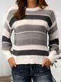 Multicolor Striped Long Sleeve Statement Sweater