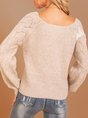 Khaki V Neck Balloon Sleeve Knitted Sweater
