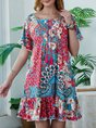 Red Holiday Cotton-Blend Printed Dress