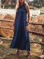 Crew Neck Solid Sleeveless Cotton-Blend Dress