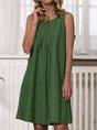 Casual Linen Sleeveless U-Neck Dress