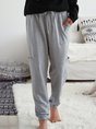 Gray Simple Cotton Solid Pockets Pants